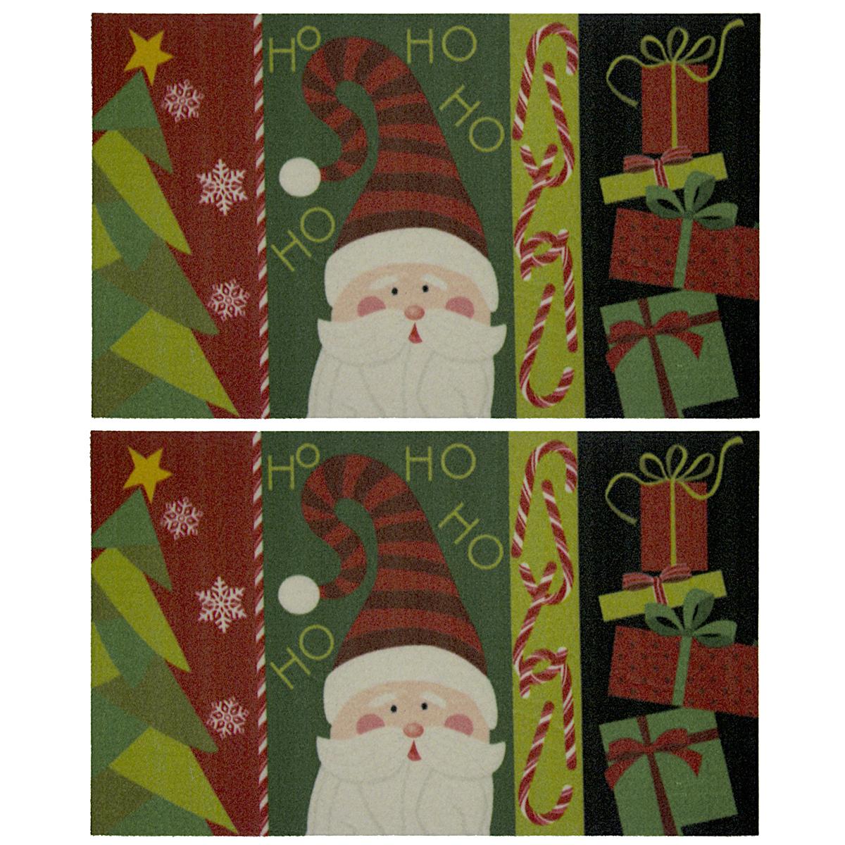 """2pk Holiday 17x29"""" Outdoor Doormats Christmas Rug Nonslip"""