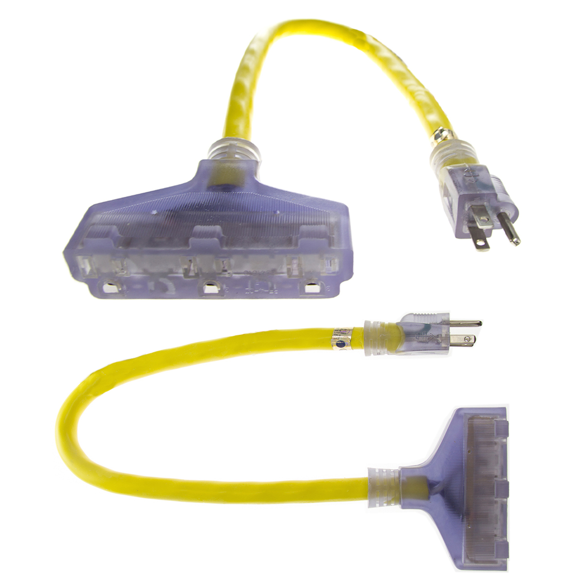 2pk Prime Lighted 2ft Triple Tap Adapter Extension Cord 3