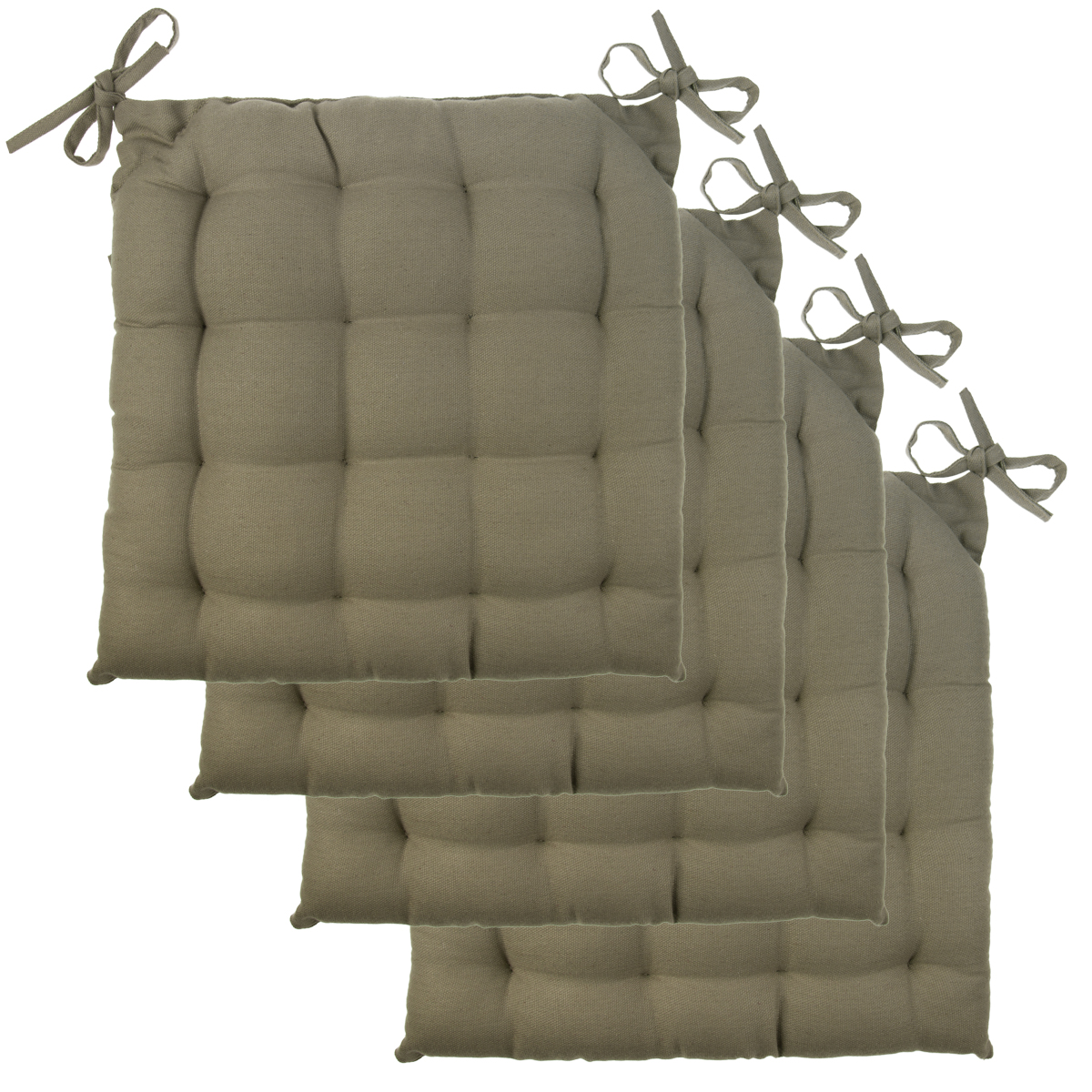 4pk chair pads set soft tufted cotton canvas padded seat cushions with ties ebay. Black Bedroom Furniture Sets. Home Design Ideas