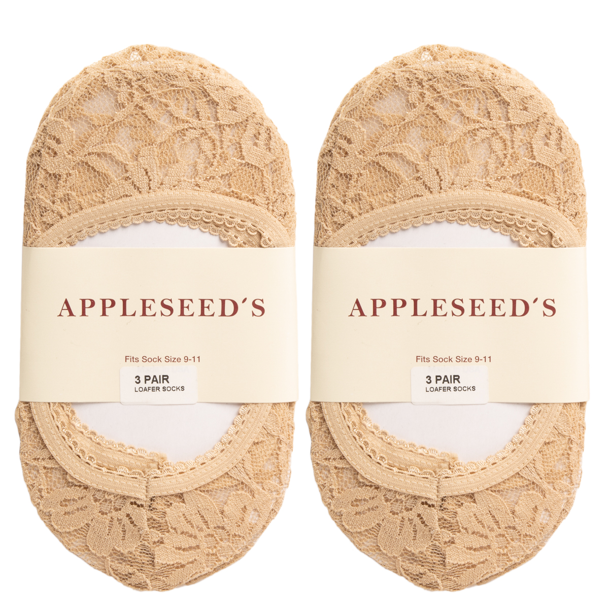 6 Pack Appleseed/'s Cute Ladies No Show Socks Footie Womens Low Cut Floral Lace