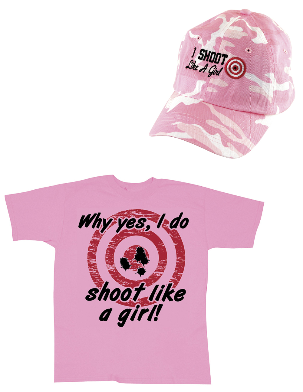 Closeout Zone (Set) I Shoot Like A Girl Baseball Cap & Lady Marksman Bullseye Pink Tee SM at Sears.com