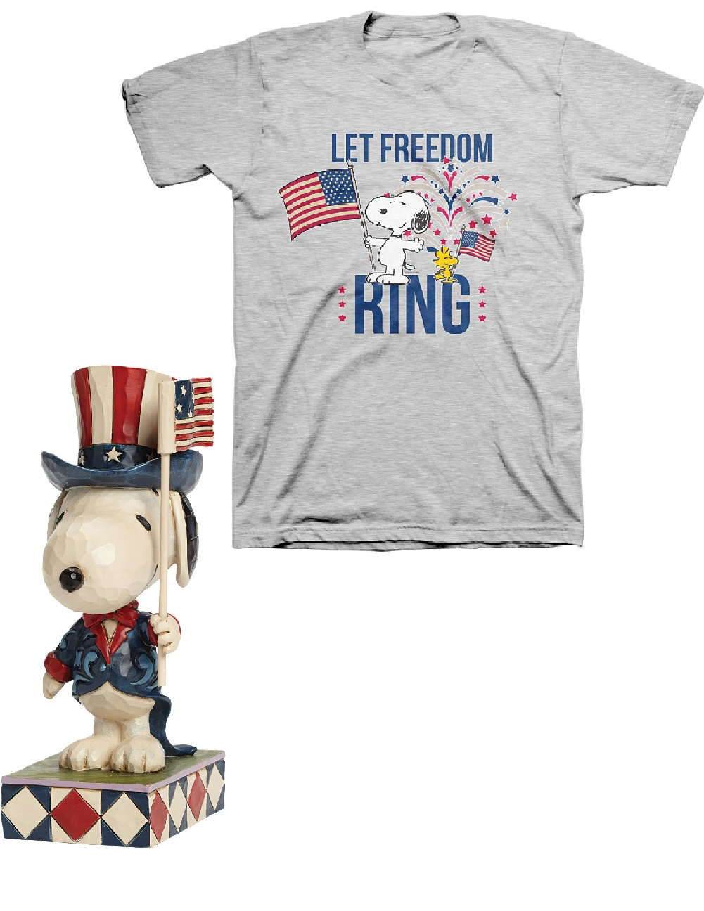 Peanuts By Schulz Let Freedom Ring - PEANUTS Jim Shore Patriotic Snoopy Figure and Gray Tee XXL
