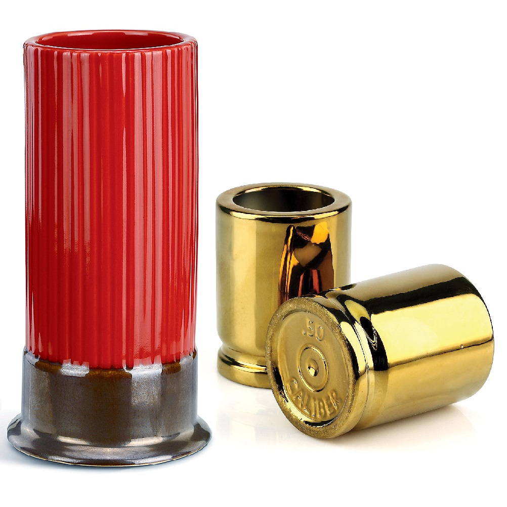 new set big shot shotgun shell tall glass and gold 50 caliber shot glasses set ebay. Black Bedroom Furniture Sets. Home Design Ideas