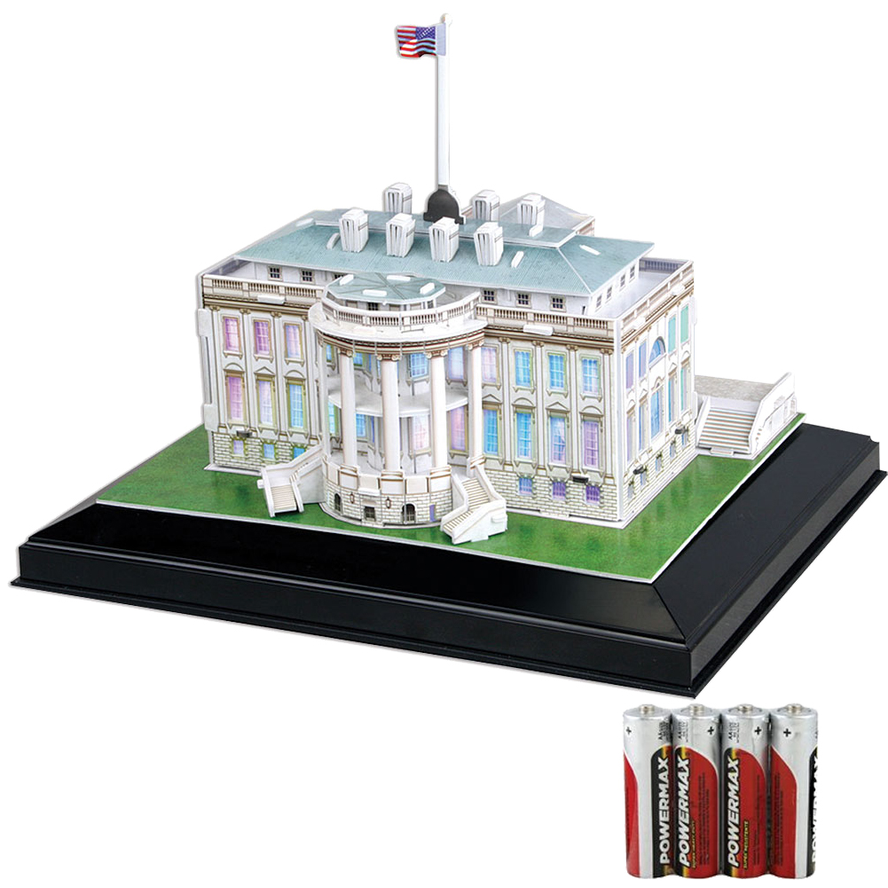 New Set White House Cubic 3d Puzzle Model Led Lighting