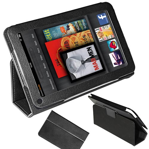 Black Protection Leather Case Cover Stand for  Kindle Fire 2 7in