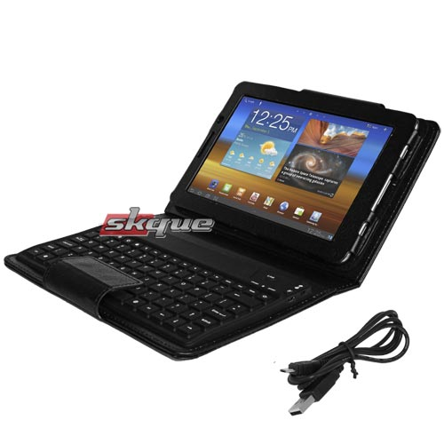 skque Leather Case with Wireless Bluetooth Keyboard for Samsung Galaxy Tab 7.7 P6800, Black at Sears.com