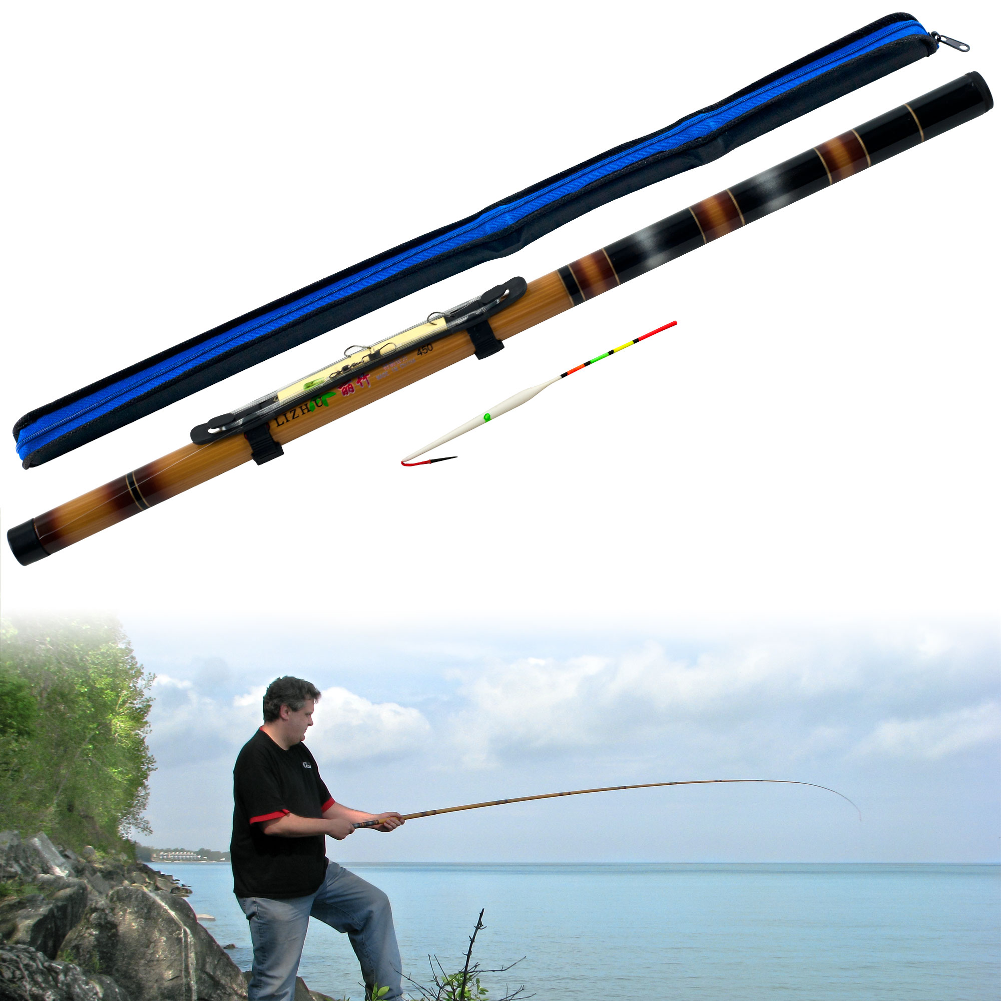 Gone fishing 12 foot telescoping fishing pole ebay for Collapsible fishing pole