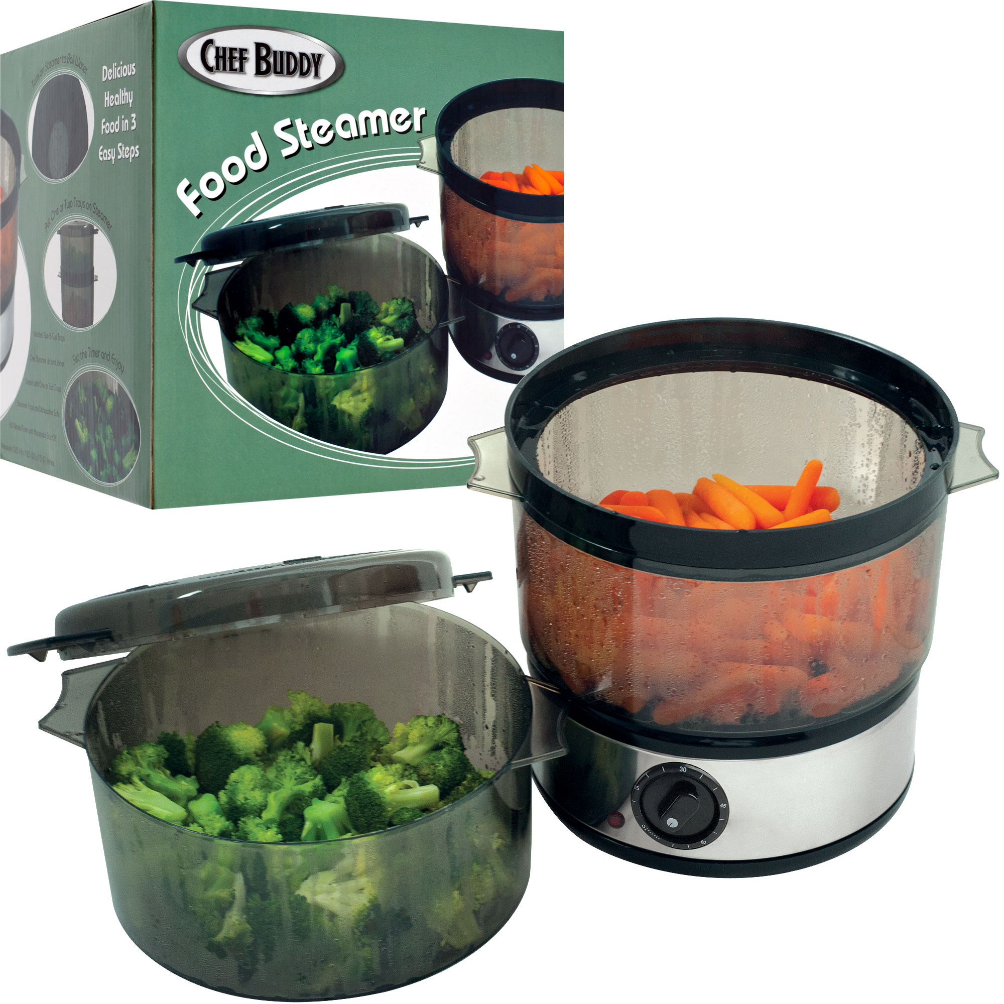 Electric Food Steamer ~ Electric food steamer tiers cup trays lid