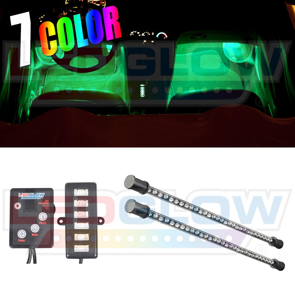 ledglow 2pc multi color 7 color led car underseat underdash interior light kit. Black Bedroom Furniture Sets. Home Design Ideas