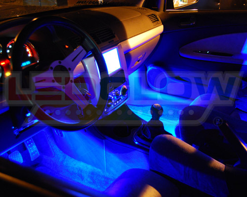 Ledglow 4pc blue underbody underglow car led neon kit w - Led lights for cars interior install ...