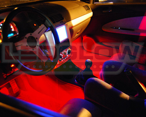 Ledglow 4pc red led interior light kit universal for all cars accent neon kit ebay for Interior accent lights for cars
