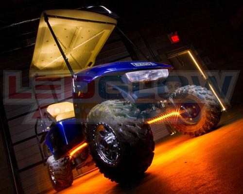 4pc Ledglow Orange Golf Cart Kart Led Underglow Light Kit