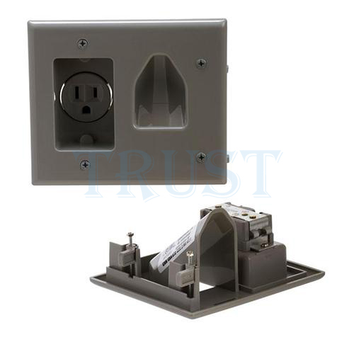 Low Voltage Faceplate : Wall plate recessed low voltage cable with power