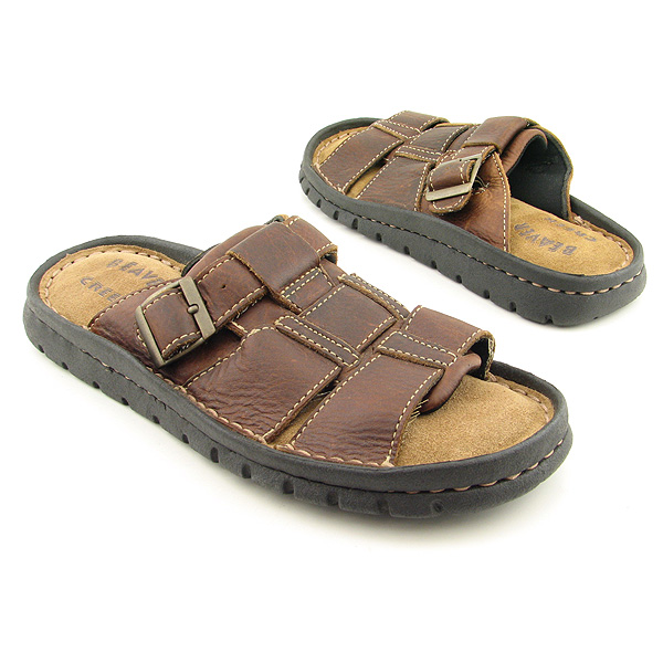 BEAVER CREEK Triple Strap Sandals Slides Shoes Brown Mens