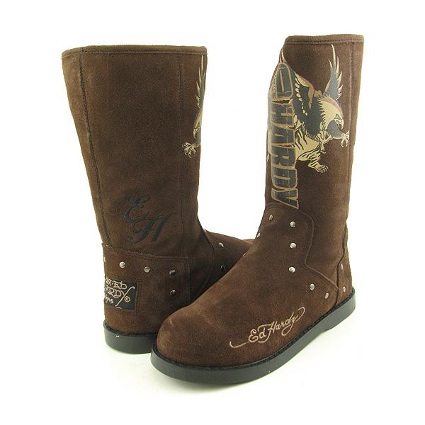 ed hardy montana boots snow shoes brown womens sz ebay