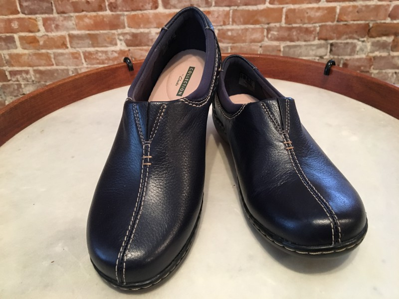 Clarks Navy Blue Leather Ashland Joy Comfort Slip On Shoe Loafer New