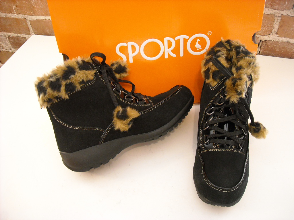 sporto black waterproof suede fur lace up ankle boot