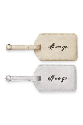 MIAMICA OFF WE GO GOLD SILVER SAFFIANO LUGGAGE TAG SET OF 2 BAG SUITCASE TRAVEL