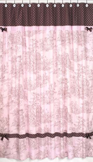 pink brown toile french country bath fabric shower curtain sweet jojo