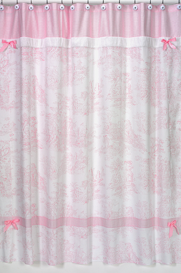 Pink white toile french country bath fabric shower curtain for Sweet jojo designs bathroom