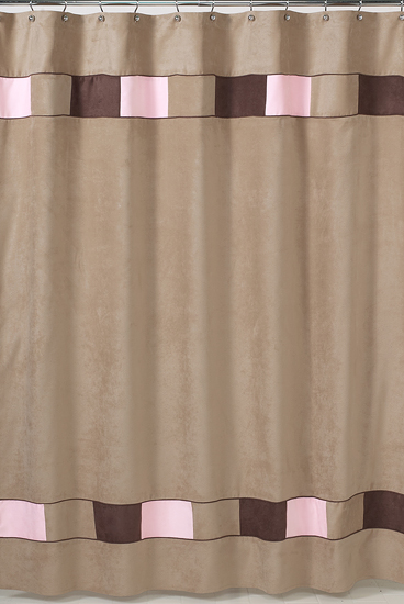 Soho pink brown suede modern bath d cor fabric shower for Pink and brown bathroom ideas