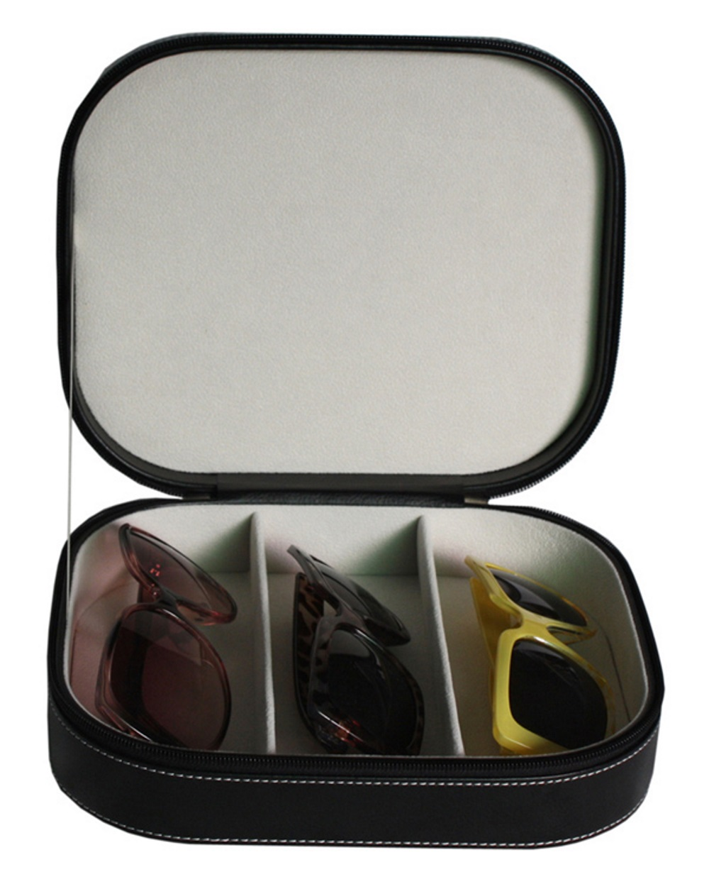 TIMELYBUYS 3 Piece Extra Large Travel Eyeglass Sunglass Glasses Zippered Case Storage Organizer Collector Box at Sears.com