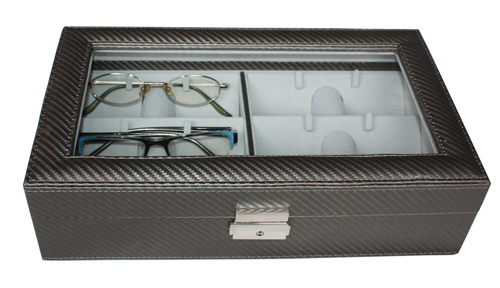 TIMELYBUYS 6 Piece Pewter Carbon Fiber Pattern Eyeglass Sunglass Glasses Display Case Storage Organizer Collector Box at Sears.com