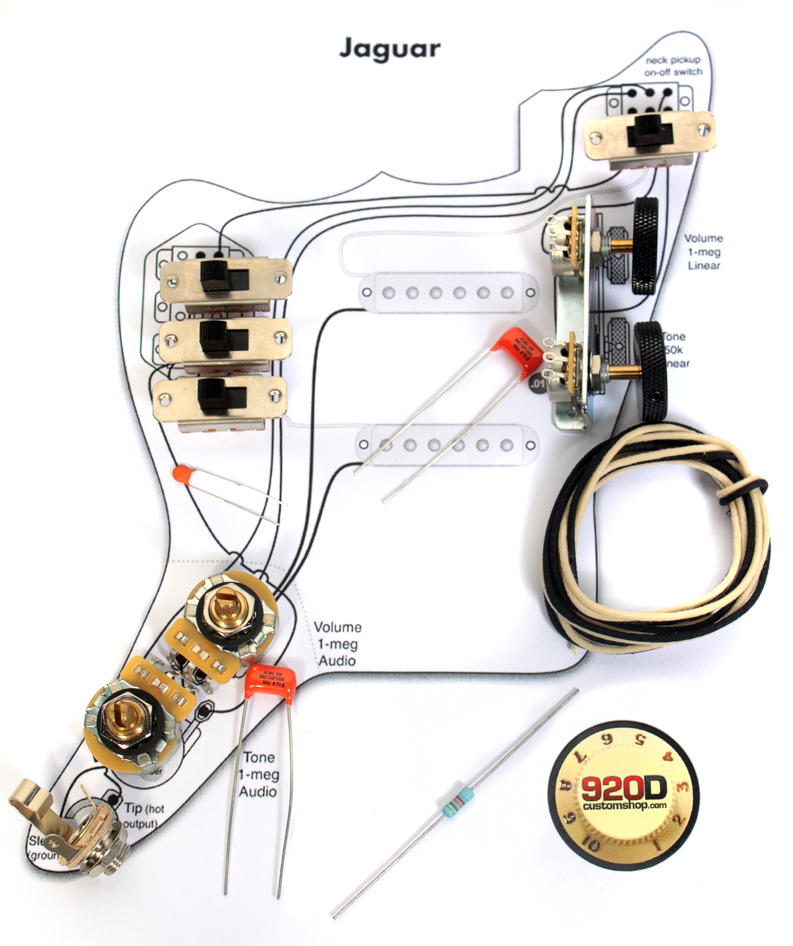 fender vintage 62 jaguar wiring kit pots switch slider caps bracket diagram ebay