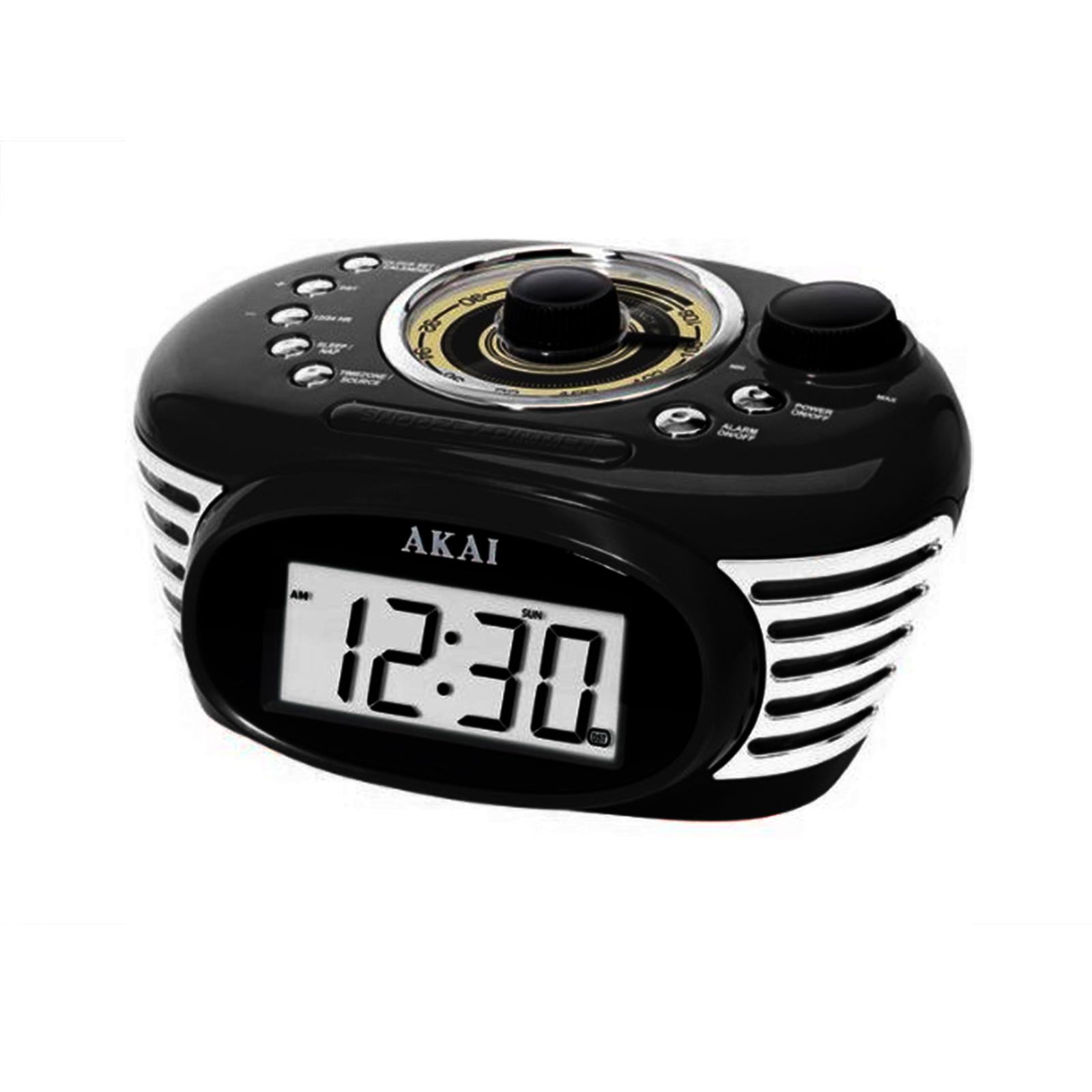 akai retro radio alarm digital backlight lcd display clock fm radio w jack ebay. Black Bedroom Furniture Sets. Home Design Ideas