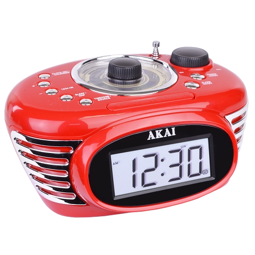 akai retro radio alarm digital backlight lcd display clock fm radio w jack ebay. Black Bedroom Furniture Sets. Home Design Ideas