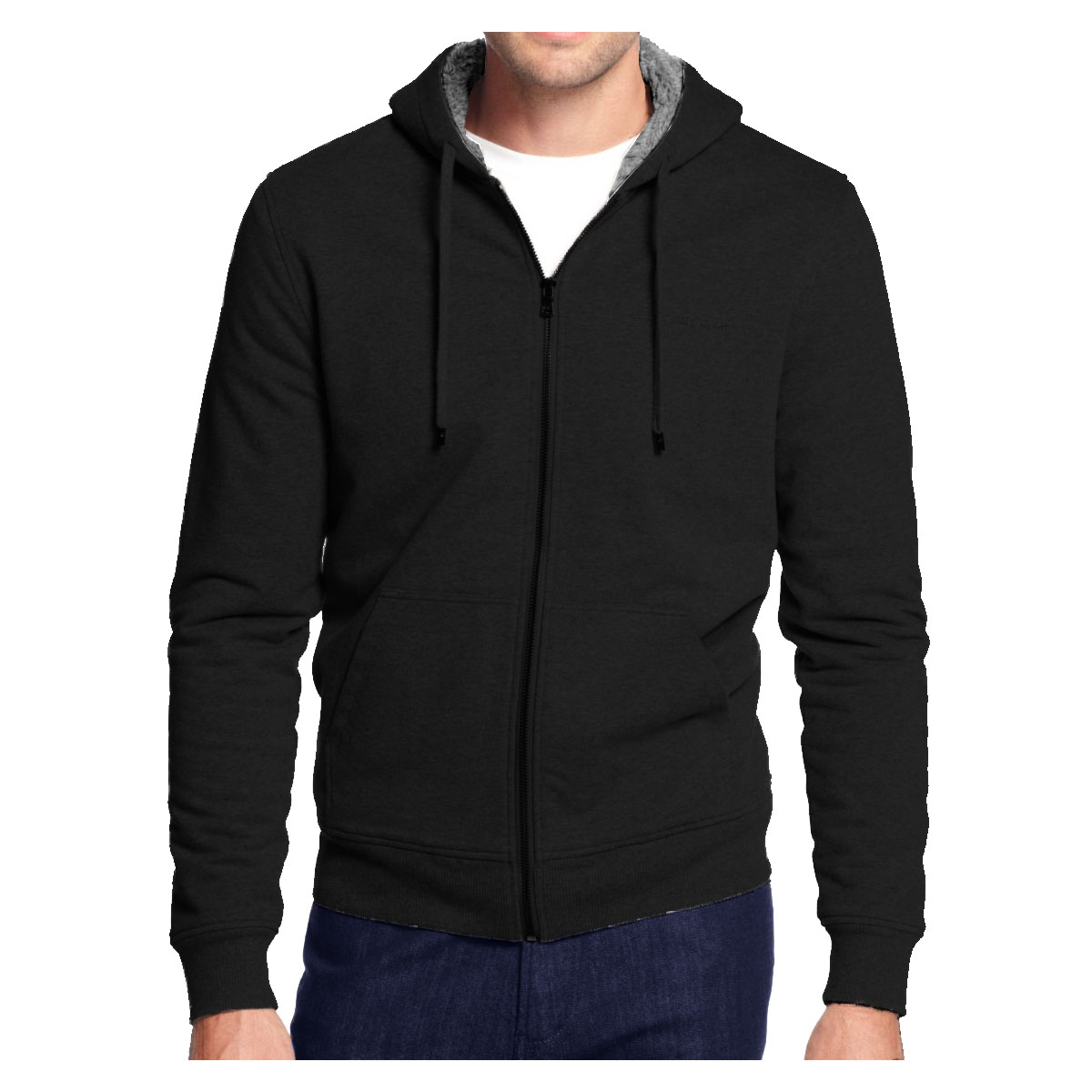 Men's Hoodie Zip Up Jacket Sherpa Lined with Quilted Sleeves ...