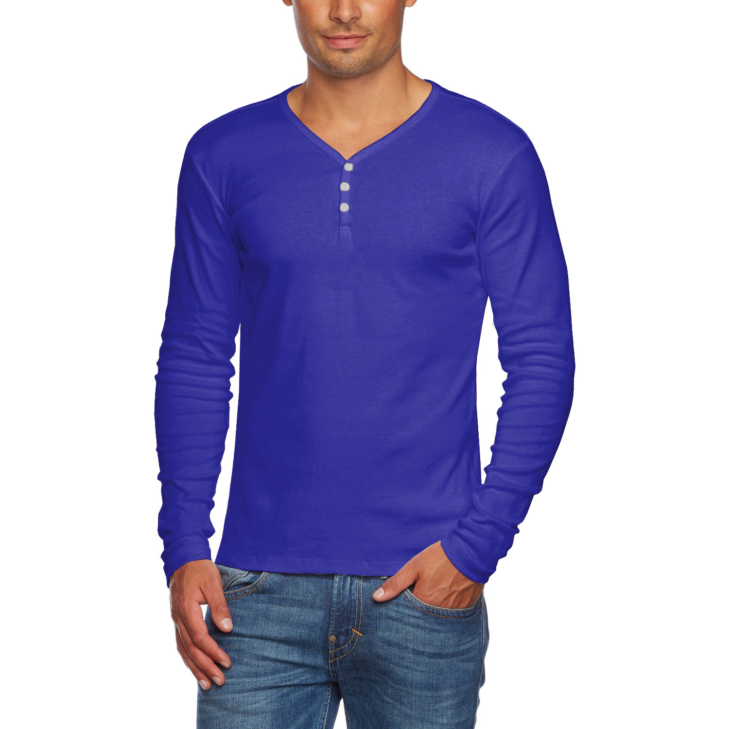 Alta men 39 s slim fit v neck long sleeve cotton t shirt with for Guys button up shirts
