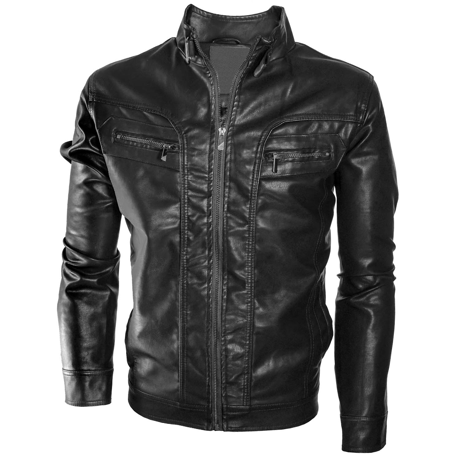 Alta Men 39 S Motorcycle Faux Leather Jacket Quilted Lining Zip Up Outerwear Ebay