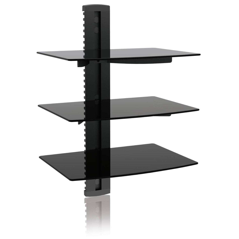 ematic universal dvd dvr player adjustable triple glass shelf wall mount emd213 ebay. Black Bedroom Furniture Sets. Home Design Ideas