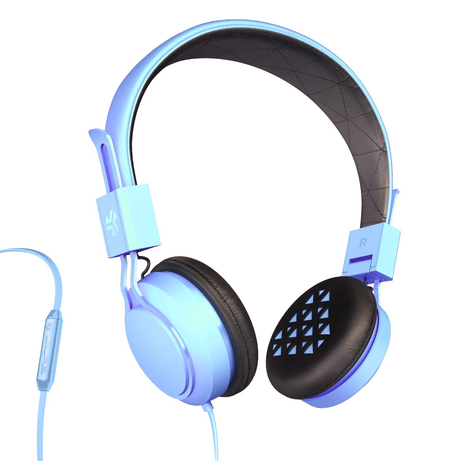 JLab Intro On-Ear Wired Stereo Folding Travel Headphones w/ Mic & Controls