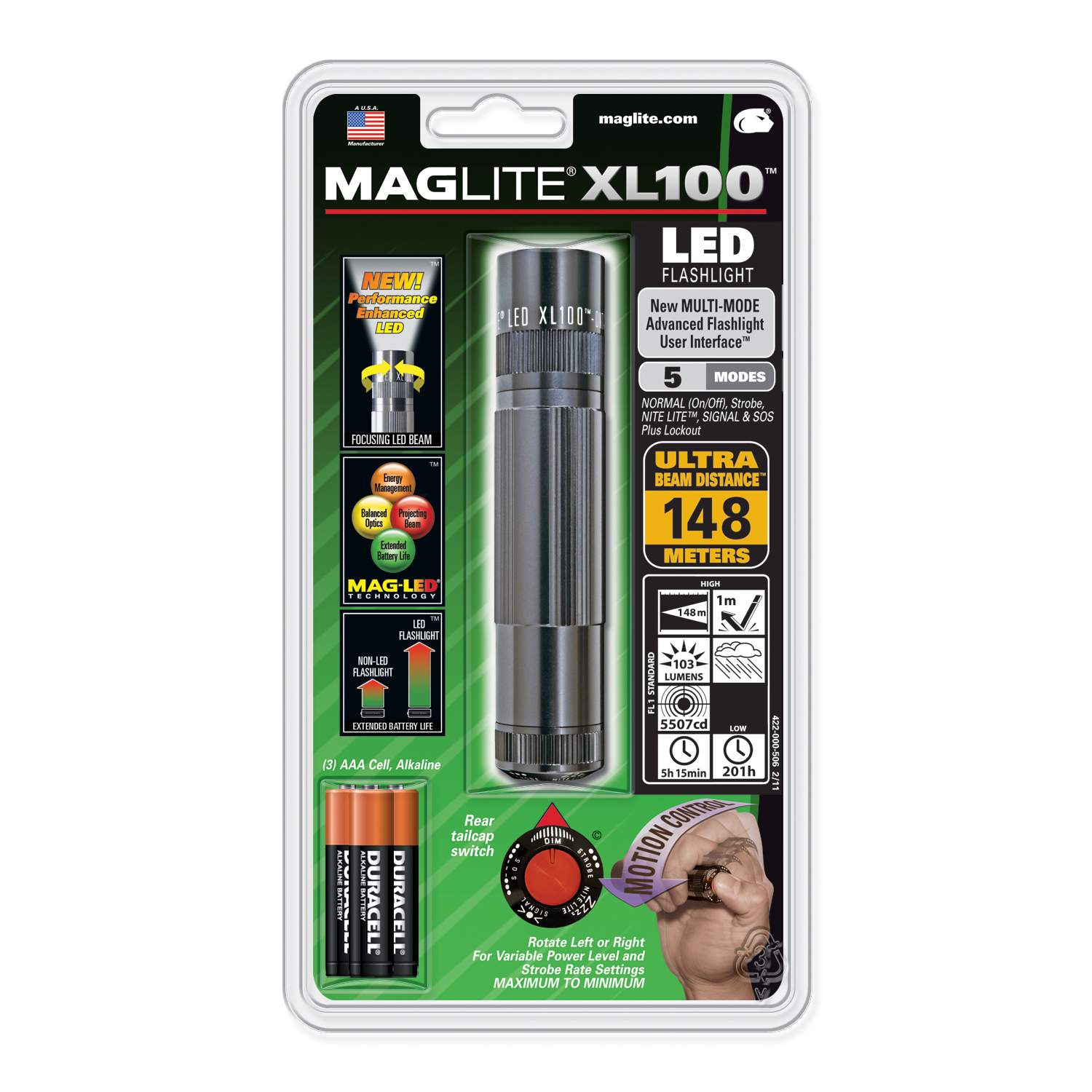 Maglite XL 100 LED High Power Flashlight  5 Modes- GRAY- XL100 S3096 at Sears.com