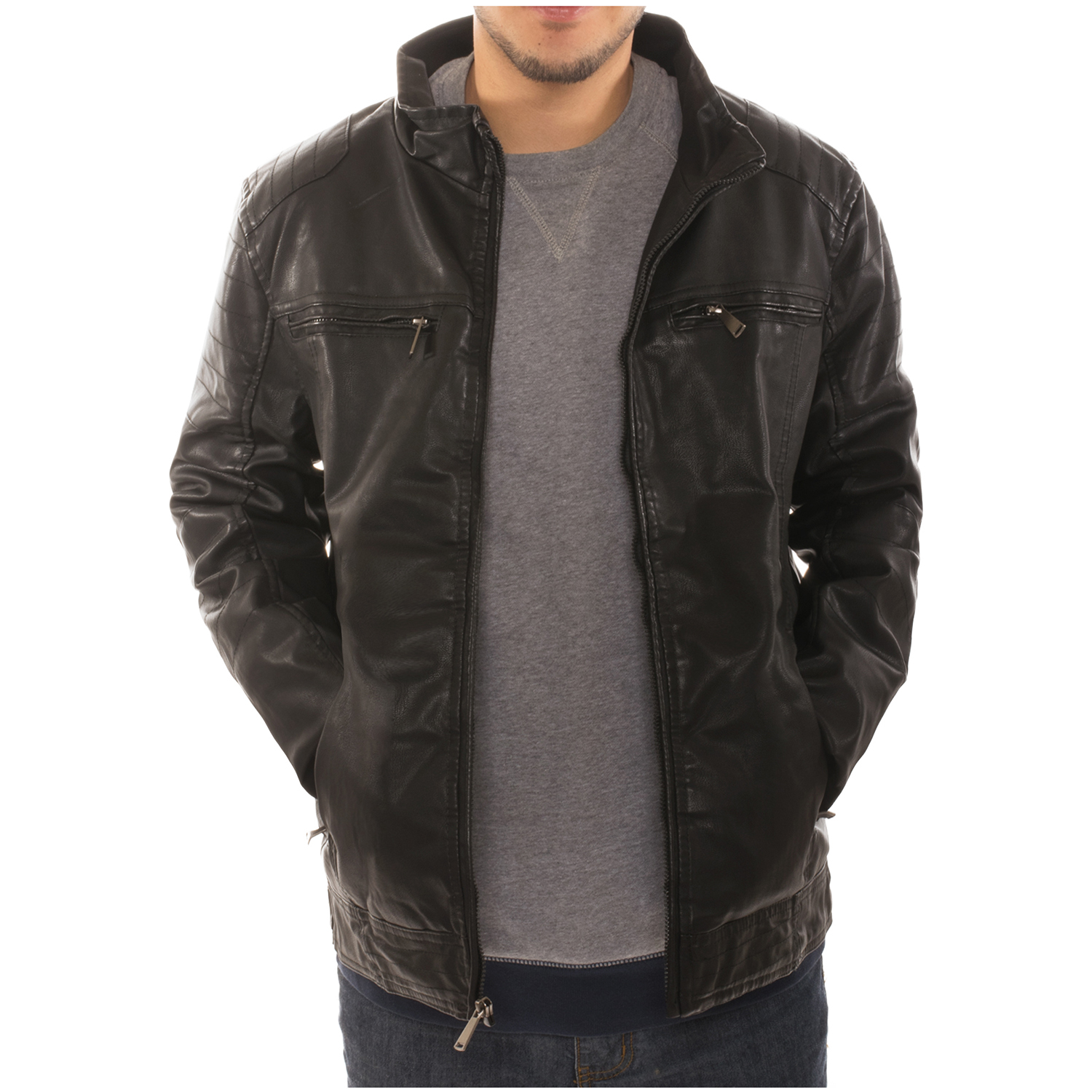 Fleece lined leather jacket