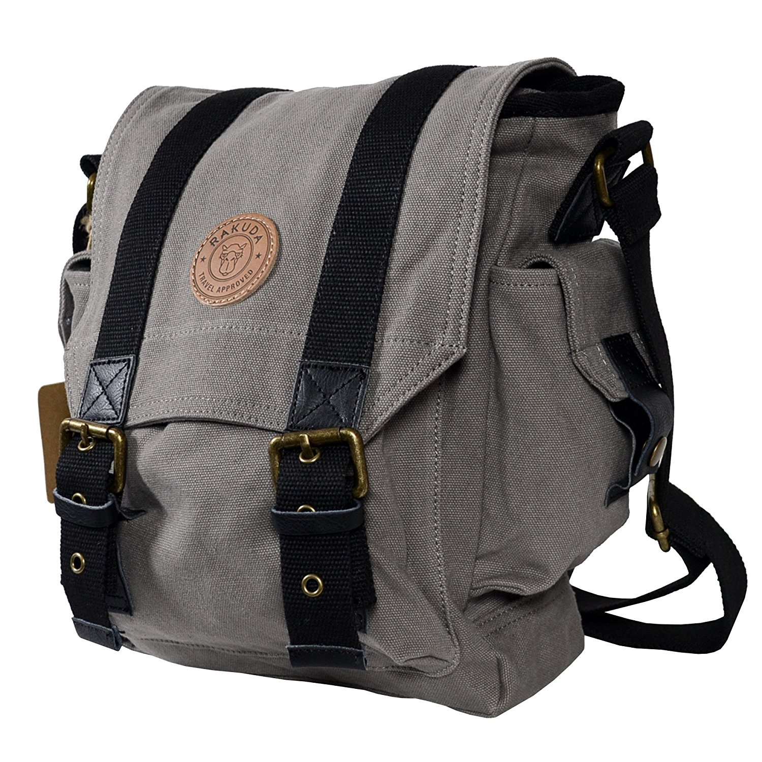 Rakuda Messenger Canvas Travel Bag with Side Pockets and Leather ...