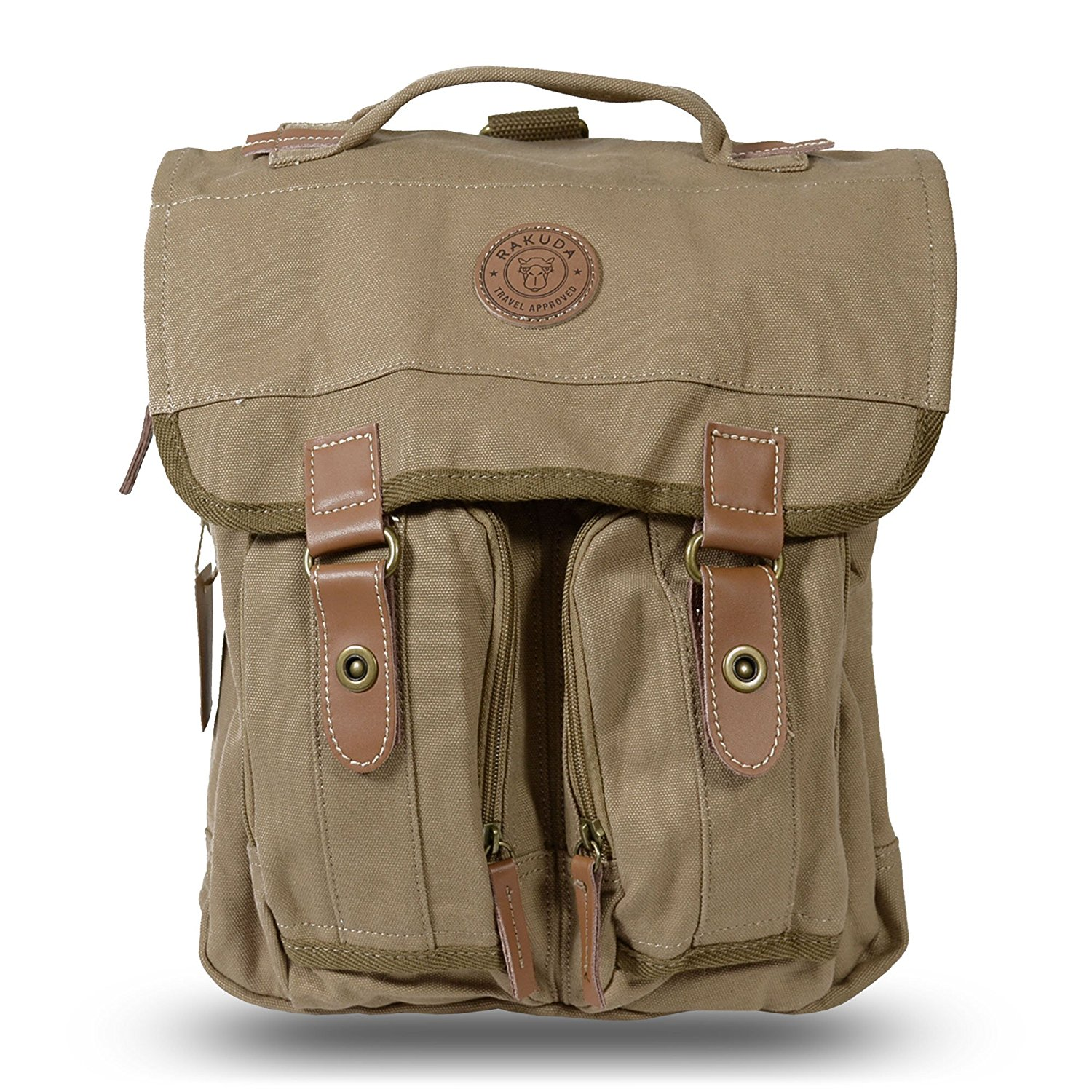 Rakuda Canvas Messenger Bag with Leather Trim Traveling Hiking ...