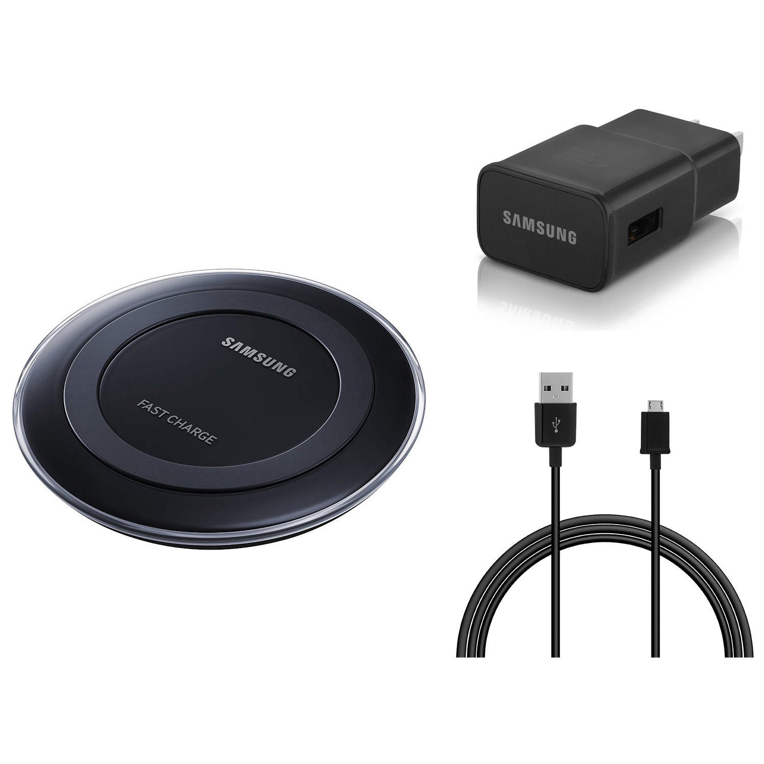 samsung oem original wireless qi fast charging pad cable wall adapter black ebay. Black Bedroom Furniture Sets. Home Design Ideas