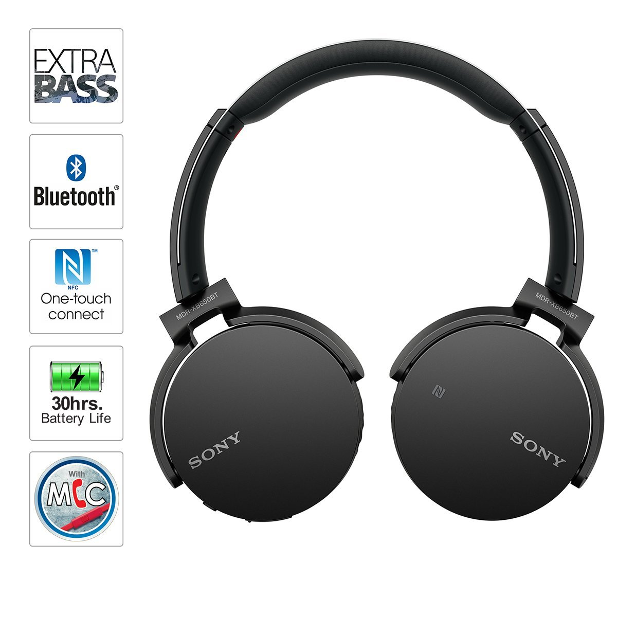 sony bluetooth wireless nfc over ear headphones extra bass. Black Bedroom Furniture Sets. Home Design Ideas