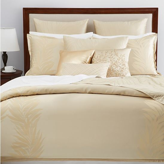 hudson park gold leaf queen duvet cover and shams gold ebay. Black Bedroom Furniture Sets. Home Design Ideas
