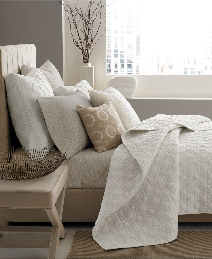 Hotel Collection Deco Quilted King Pillow Sham Ivory