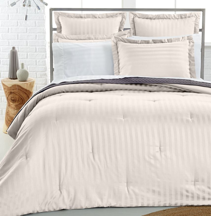 Charter club damask stripe pima cotton reversible full for Pima cotton comforter