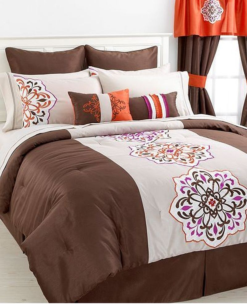 Boys Brown And Orange Bedding: Jessica Sanders Aveline 17 Piece King Comforter Set Brown