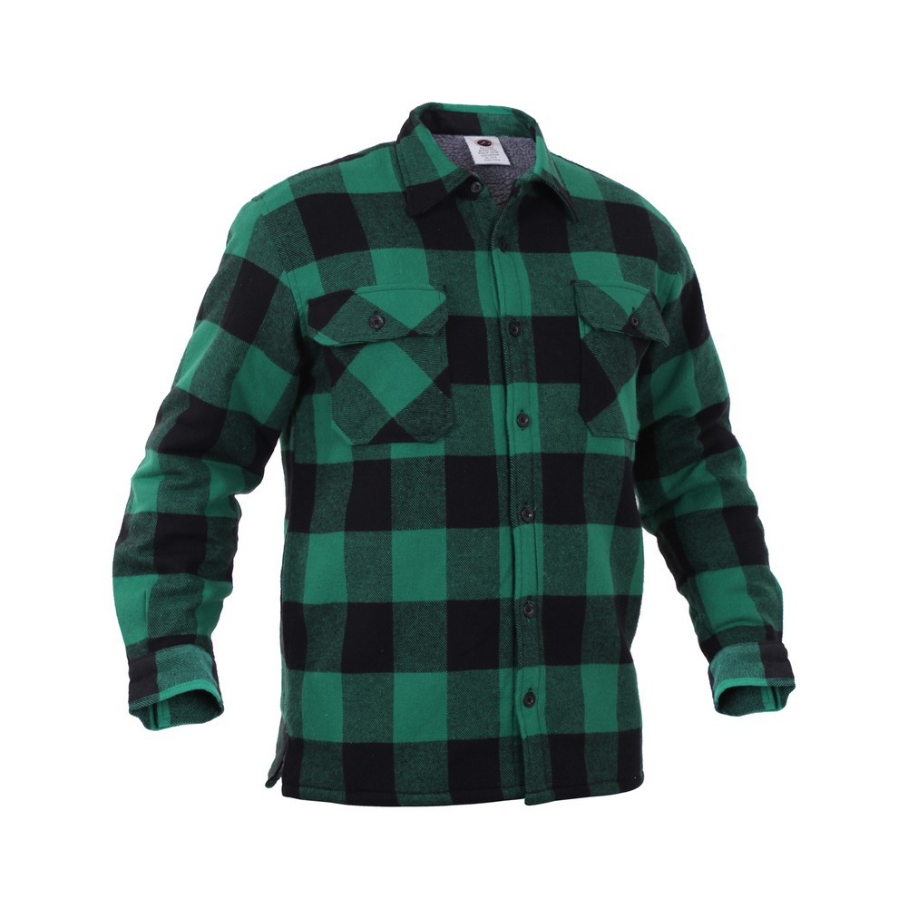 Rothco Mens Flannel Shirt - Heavyweight Sherpa Lined, Green at Sears.com