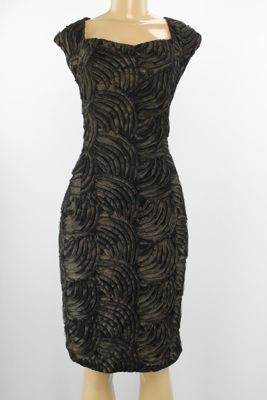 Jessica Howard Women Dress Sleeveless Black Bronze Combination Size 14