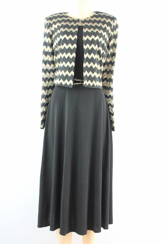 Jessica Carlyle Jessica Howard 3/4 Sleeve Zigzag Jacket Dress Black Gold Size 8