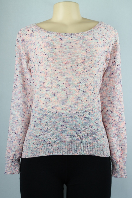 OH MG long sleeves knit top pink white combo size XS