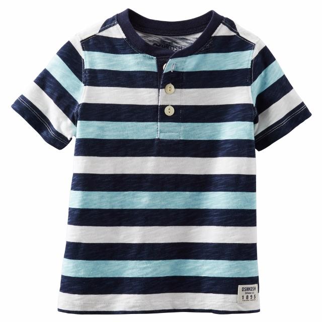 Oshkosh Boys Short Sleeve Striped Henley Shirt Blue size 2T
